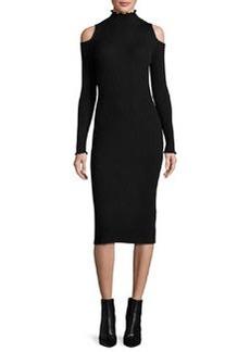 Rebecca Taylor Cold-Shoulder Ribbed Merino Midi Dress