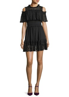 Rebecca Taylor Cold-Shoulder Ruffled Eyelet Silk Mini Dress