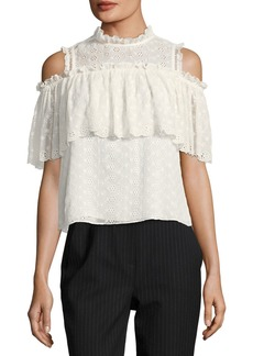 Rebecca Taylor Cold-Shoulder Ruffled Eyelet Silk Top
