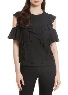 Rebecca Taylor Cold Shoulder Silk Top
