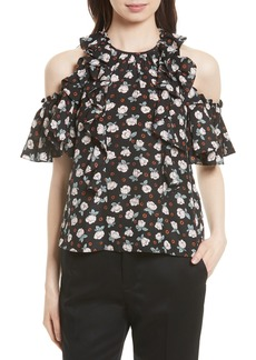 Rebecca Taylor Cold Shoulder Silk Top