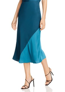 Rebecca Taylor Color-Blocked Satin Midi Skirt