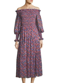 Rebecca Taylor Cosmic Off-the-Shoulder Floral-Print Midi Dress