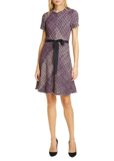 Rebecca Taylor Cotton Blend Tweed Fit & Flare Dress
