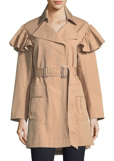 Rebecca Taylor Cotton-Faille Belted Trench Coat