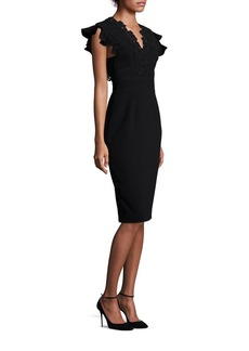 Rebecca Taylor Crepe & Lace Sleeveless Bodycon Dress