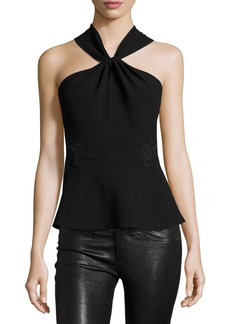 Rebecca Taylor Crepe & Lace Twist-Front Top