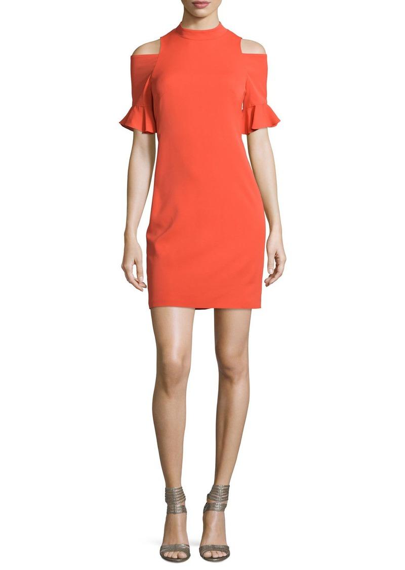 Rebecca Taylor Crepe Cold-Shoulder Sheath Dress