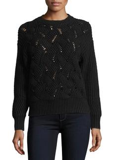 Rebecca Taylor Crewneck Embellished Pullover Knit Sweater