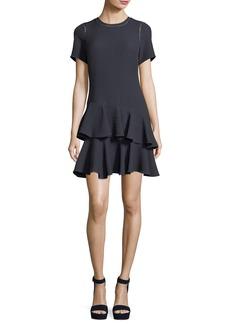 Rebecca Taylor Crewneck Jacquard Mini Dress