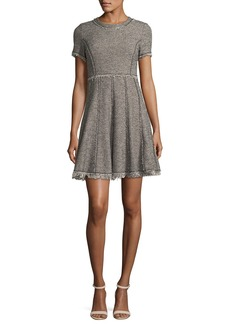 Rebecca Taylor Crewneck Short-Sleeve Tweed Short Dress