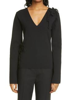 Rebecca Taylor Crochet Appliqué Slim Fit V-Neck Cotton Sweater
