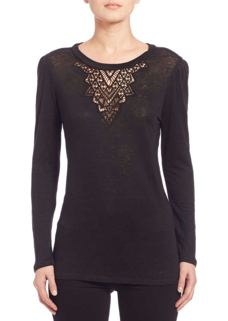 Rebecca Taylor Crochet Lace Inset Top
