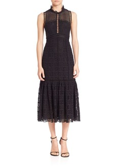 Rebecca Taylor Crochet Lace Midi Dress