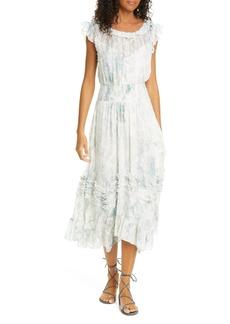 Rebecca Taylor Daffodil Handkerchief Hem Silk & Cotton Dress