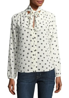 Rebecca Taylor Dandelion Tie-Neck Long-Sleeve Silk Top