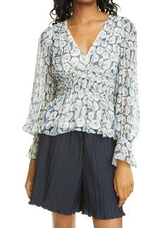 Rebecca Taylor Deco Fleur Long Sleeve Silk Blouse