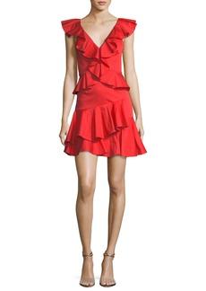 Rebecca Taylor Deep-V Cotton Ruffle Mini Cocktail Dress