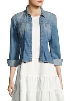 Rebecca Taylor Denim Long-Sleeve Peplum Zip Jacket