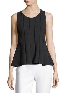 Rebecca Taylor Dia Sleeveless Textured Peplum Top