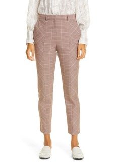 Rebecca Taylor Directional Plaid Crop Cotton Blend Trousers