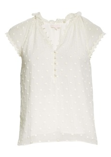 Rebecca Taylor Dot Embroidered Crinkle Chiffon Top