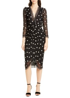 Rebecca Taylor Dot Embroidered Silk Dress