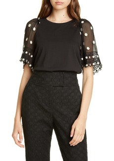 Rebecca Taylor Dot Embroidered Sleeve Knit Top