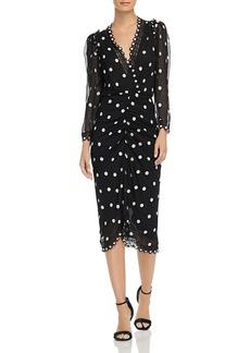 Rebecca Taylor Dot Embroidered V-Neck Dress