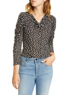 Rebecca Taylor Dot Ruched Sleeve Twist Top