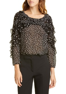 Rebecca Taylor Dot Ruffle Silk Blend Top