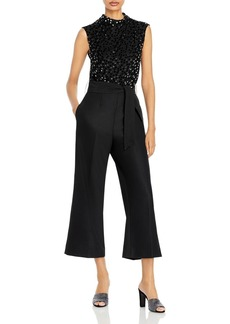 Rebecca Taylor Dotted Sleeveless Cropped Jumpsuit