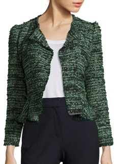 Rebecca Taylor Double-Breasted Tweed Peplum Jacket