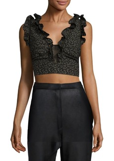 Rebecca Taylor Dragonfly Ruffle Cropped Top
