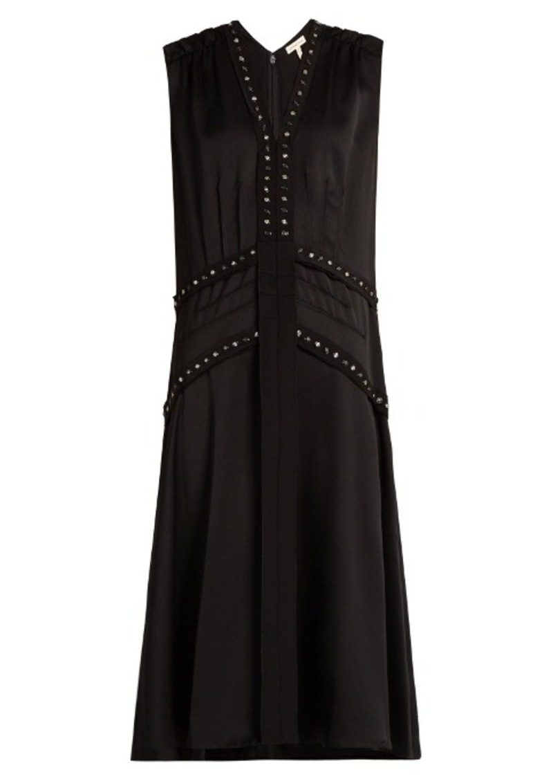 Rebecca Taylor Dropped-waist sleeveless crepe midi dress