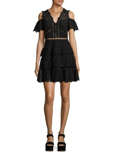 Rebecca Taylor Eliza Cold-Shoulder Silk Lace Dress