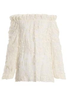 Rebecca Taylor Ellie floral-embroidered sheer cotton-blend blouse