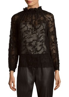 Rebecca Taylor Long-Sleeve Ellie Embroidery Top