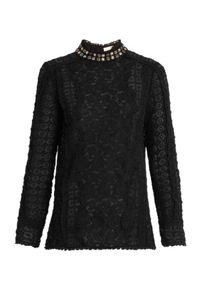Rebecca Taylor Embellished-collar floral-lace blouse