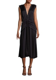 Rebecca Taylor Embellished Crepe Midi Dress