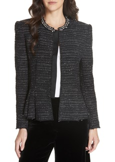 Rebecca Taylor Embellished Stretch Tweed Jacket