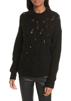 Rebecca Taylor Embellished Wool Blend Sweater