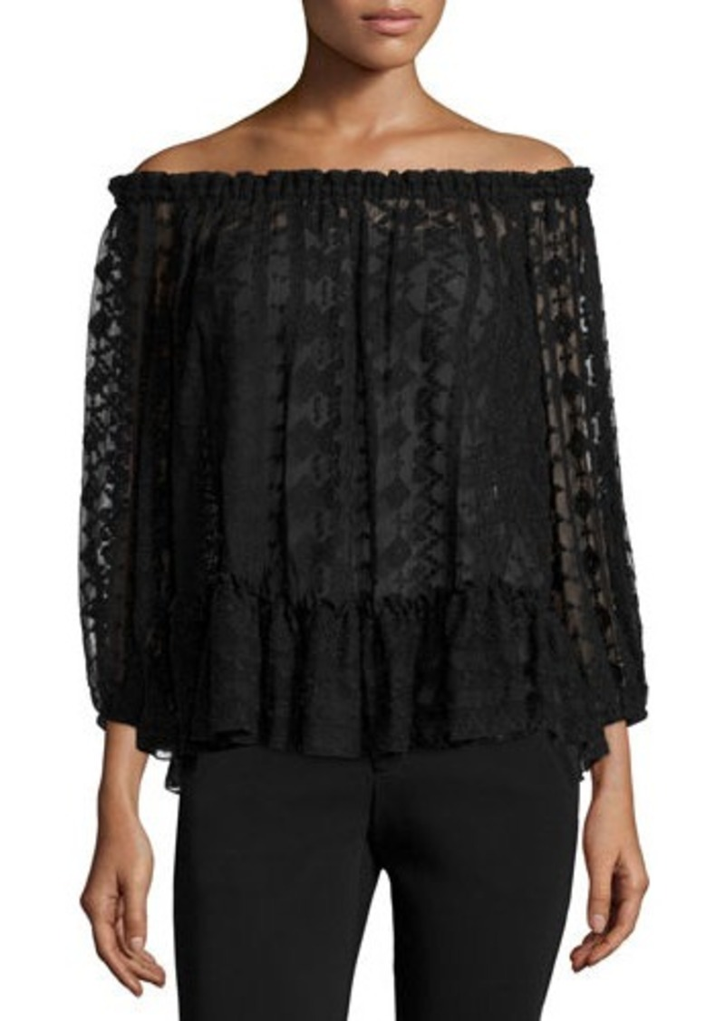 Rebecca Taylor Embroidered Chiffon Off-the-Shoulder Top