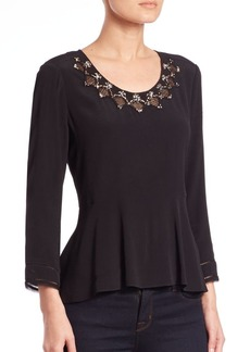 Rebecca Taylor Embroidered Crepe Peplum Top