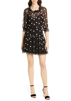 Rebecca Taylor Embroidered Dot Silk Chiffon Dress