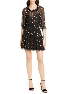 Rebecca Taylor Embroidered Dot Silk Chiffon Dress