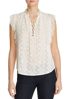 Rebecca Taylor Embroidered Flutter Sleeve Blouse