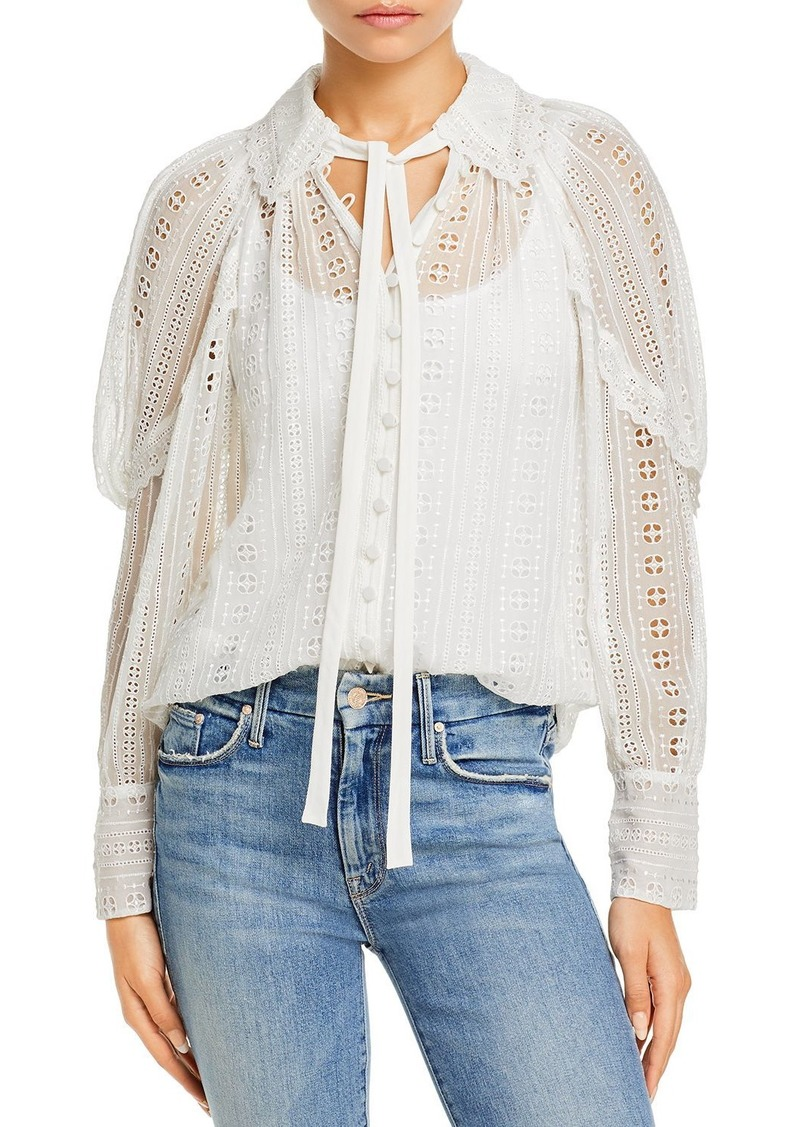 Rebecca Taylor Embroidered Lace Blouse
