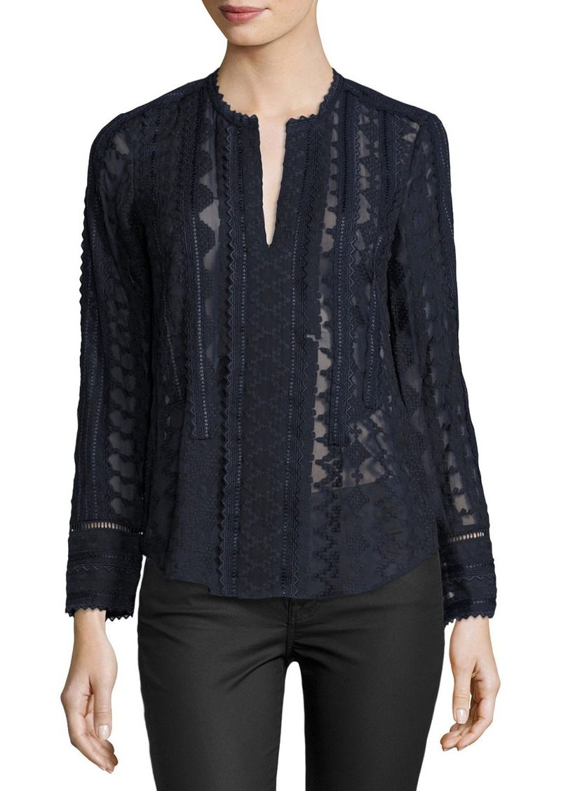 Rebecca Taylor Embroidered Lace Chiffon Top