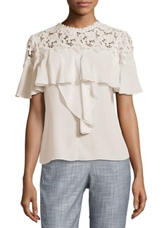 Rebecca Taylor Lace Flounce Top